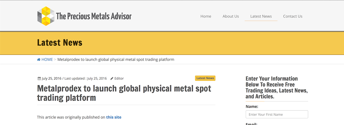 Advantage Metal Advisors Trading System